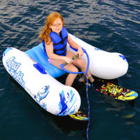 inflatable water ski trainer with child positioned on it
